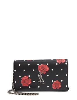 Rose & Polka Dot Leather Wallet On A Chain by Saint Laurent