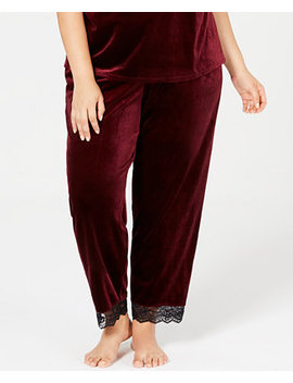 I.N.C. Plus Size Lace Trim Velvet Pajama Pants, Created For Macy's by Inc International Concepts