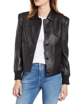 Puff Shoulder Leather Jacket by Chelsea28