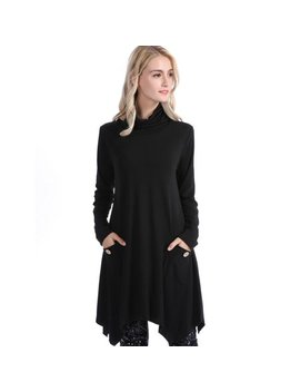 Women Casual Turtleneck Tops Asymmetric Hemline Tops Blouse Cowl Neck Sweater by Zerone