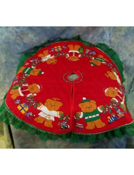 "Christmas Tree Skirt Teddy Bears 36"" Diameter Green Lace by Ebay Seller"