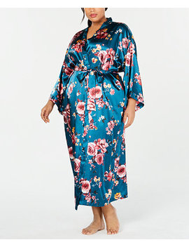Plus Size Floral Print Long Wrap Robe, Created For Macy's by Thalia Sodi