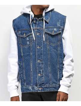 Empyre Sidecar White & Blue Denim Jacket by Empyre