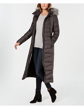 Faux Fur Trim Maxi Puffer Coat by Calvin Klein