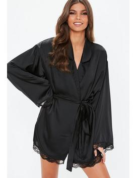 Black Satin Lace Trim Dressing Gown by Missguided