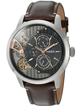 Fossil Mens Me1163 Townsman Twist Multifunction Dark Brown Leather Watch by Fossil