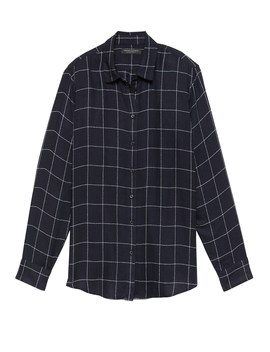 Dillon Classic Fit Windowpane Plaid Flannel Shirt by Banana Repbulic