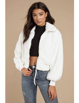 Ada White Faux Fur Jacket by Tobi