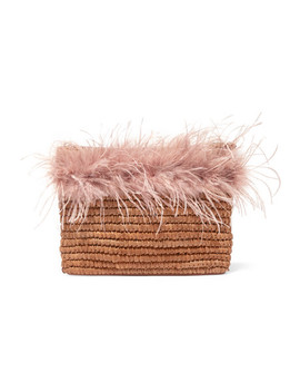 Feather Trimmed Raffia Pouch by Loeffler Randall