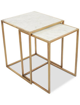 Isla Marble 2 Pc. Square Nesting End Table by Isla Table Furniture Collection