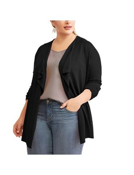 Women's Plus Surplus Back Drape Open Cardigan by Terra & Sky