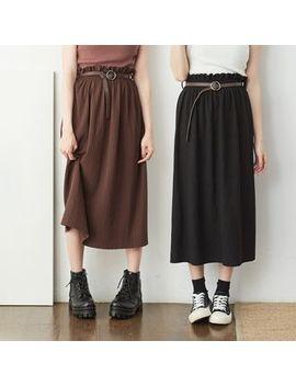 Baimomo   High Waist Midi A Line Skirt by Baimomo