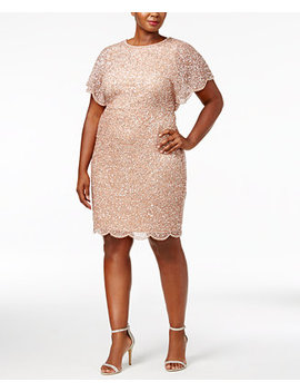 Plus Size Beaded Flutter Sleeve Dress by Adrianna Papell