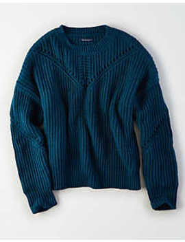Ae Shaker Eyelet Pullover Sweater by American Eagle Outfitters