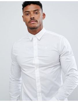 Sik Silk Long Sleeve Muscle Fit Shirt In White by Sik Silk