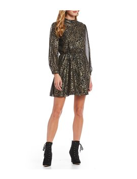 Gold Foiled Leopard Print Mock Neck Bishop Sleeve Chiffon Mini Blouson Dress by Cupcakes & Cashmere