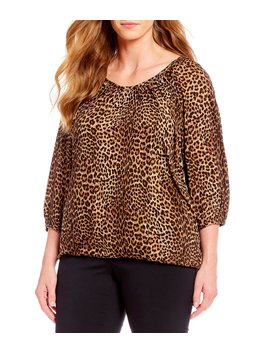 Plus Size Persian Leopard Print Knit Jersey Peasant Top by Michael Michael Kors