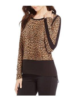 Persian Leopard Print Knit Jersey Hi Low Georgette Hem Tunic by Michael Michael Kors
