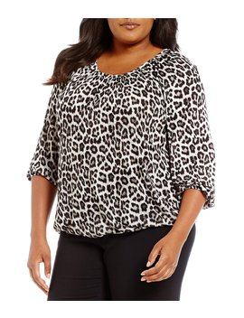 Plus Leopard Print Knit Jersey Peasant Top by Michael Michael Kors