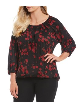 Plus Size Eden Rose Floral Print Balloon Sleeve Knit Jersey Peasant Top by Michael Michael Kors