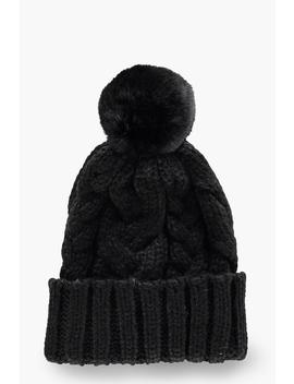 Chunky Cable Faux Fur Pom Beanie by Boohoo