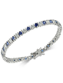 Cubic Zirconia Sapphire Tennis Bracelet In Sterling Silver, Created For Macy's by Giani Bernini