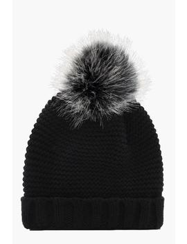 Chunky Knit Contrast Beanie by Boohoo