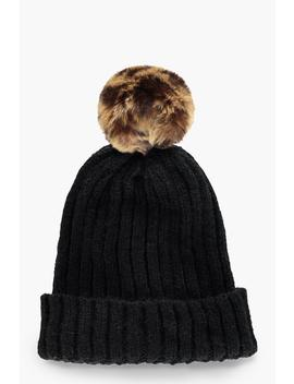 Black Beanie With Leopard Faux Fur Pom by Boohoo