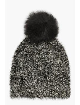 Gold Dust Faux Fur Pom Beanie by Boohoo