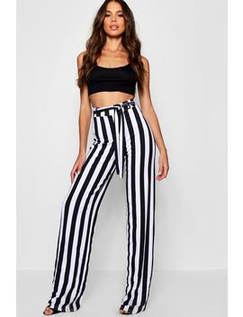 Tall Mia Stripe Wide Leg Trousers by Boohoo