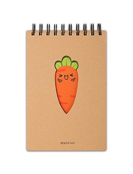 Cute Cartoon Top Spiral Notebook, Aixingyun Classic Notebook With Carrot Expression, Small Pocket Notebook, 8 X 6 Inches, 96 Sheets, Hard Craft Cover(A5, Joyful) by Aixingyun