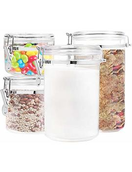 Food Storage Containers Canister Set   Set Of 4 Air Tight Canisters With Lids For Dry Flour Cereal Coffee Rice Acrylic Plastic Clear Glass Airtight Cannister For Kitchen by Kryllic