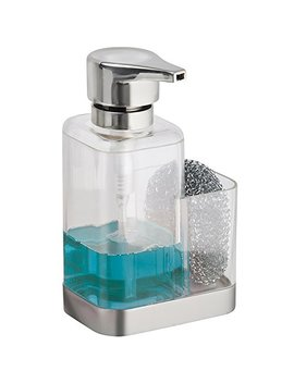 M Design Kitchen Sink Countertop Liquid Hand Soap Dispenser Pump Bottle Caddy With Storage Compartment   Holds And Stores Sponges, Scrubbers And Brushes   Plastic, Clear/Brushed by M Design