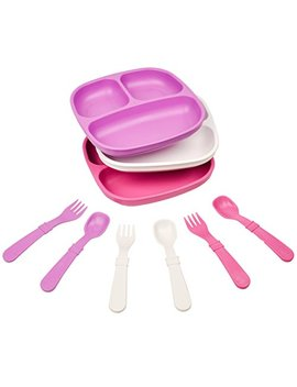 Re Play Made In The Usa Dinnerware Set   3pk Divided Plates With Matching Utensils Set (Berry) by Re Play