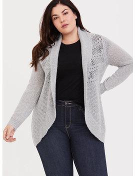 Grey Pointelle Knit Shawl Cardigan by Torrid