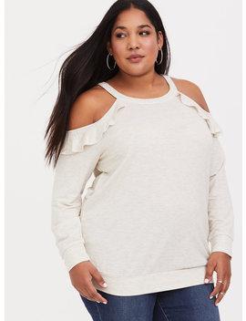 Cream Ruffle Cold Shoulder Sweatshirt by Torrid