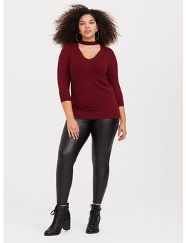 Red Choker Neck Pullover by Torrid