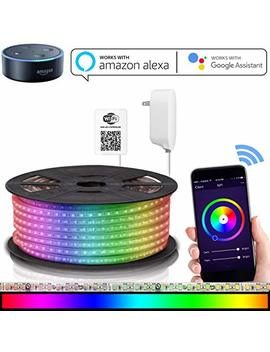 Led Strip Lights Compatible With Alexa, Maxonar Wifi Led Light Strip Kit With Rgb Multicolor Waterproof Ip65 Strip Light Wireless Smart Phone Controlled Diy Kit Works Amazon Echo Google Home (16.4 Ft) by Maxonar