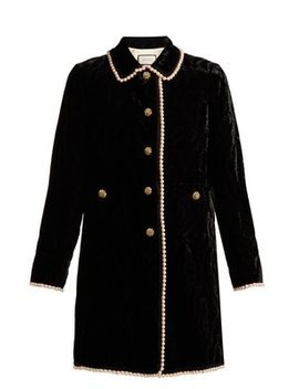 Faux Pearl And Crystal Embellished Velvet Jacket by Gucci