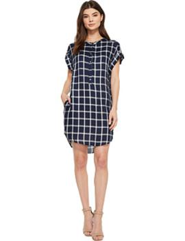 Naya Short Sleeve Plaid Dress by American Rose