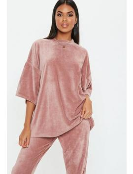 Rose Velour Oversized T Shirt by Missguided