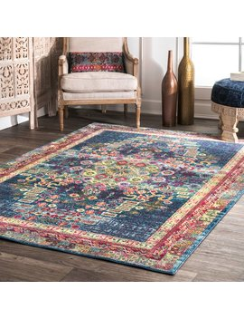 Nu Loom Traditional Vibrant Abstract Floral Tiles Blue Rug (5'3 X 7'7) by Nuloom