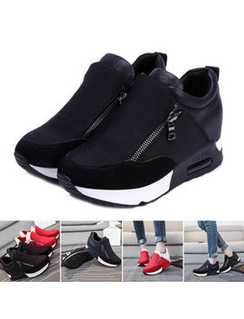 New Women Sneakers Zip Wedge Hidden Heel Running Sport Gym Casual Shoes Trainers by Ebay Seller