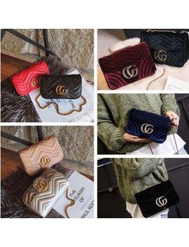 Women Handbag Cross Body Quilted Pu Leather Zigzag Chain Medium Velvet Flap Bag by Ebay Seller