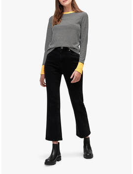 Warehouse Contrast Cuff Striped Top, Mustard by Warehouse