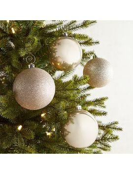 "4"" Linen Shatterproof Ornament Set by Pier1 Imports"