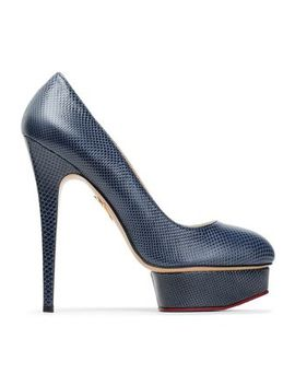 Snake Effect Leather Platform Pumps by Charlotte Olympia