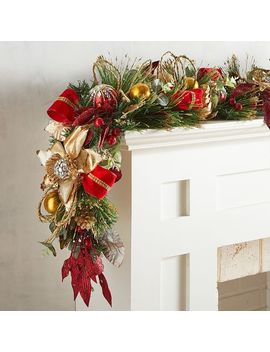 Faux Golden Poinsettia &Amp; Jeweled Ornament 6' Garland by Pier1 Imports