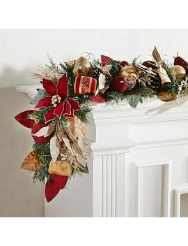 Faux Burgundy Poinsettia 6' Garland by Pier1 Imports