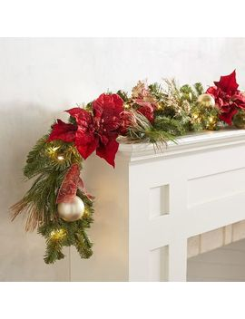 Led Pre Lit Royal Faux Poinsettia 9' Garland by Pier1 Imports